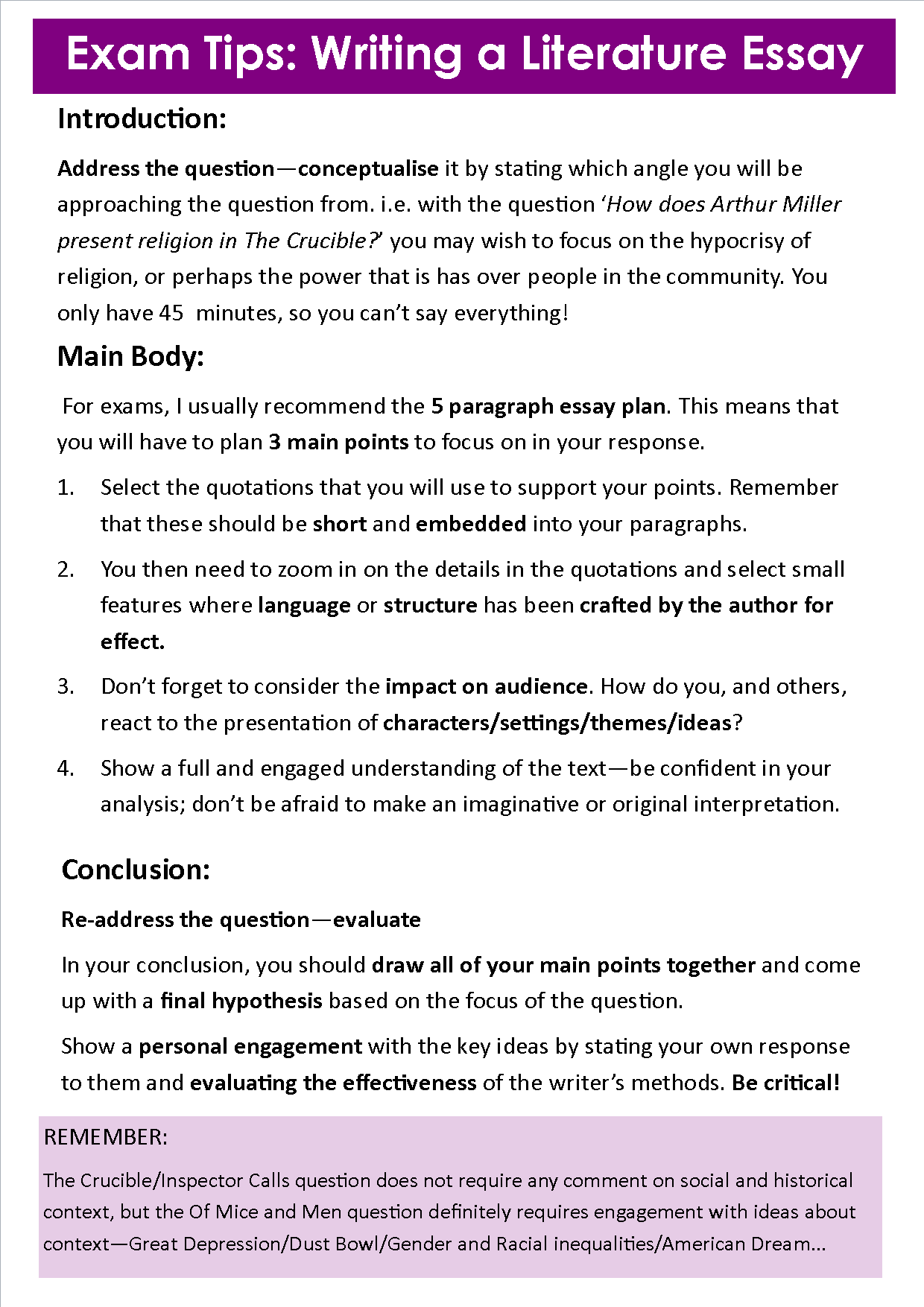 essay of the crucible essay for the crucible literature essay on  2014 miss ryan s gcse english media writing a lit essay