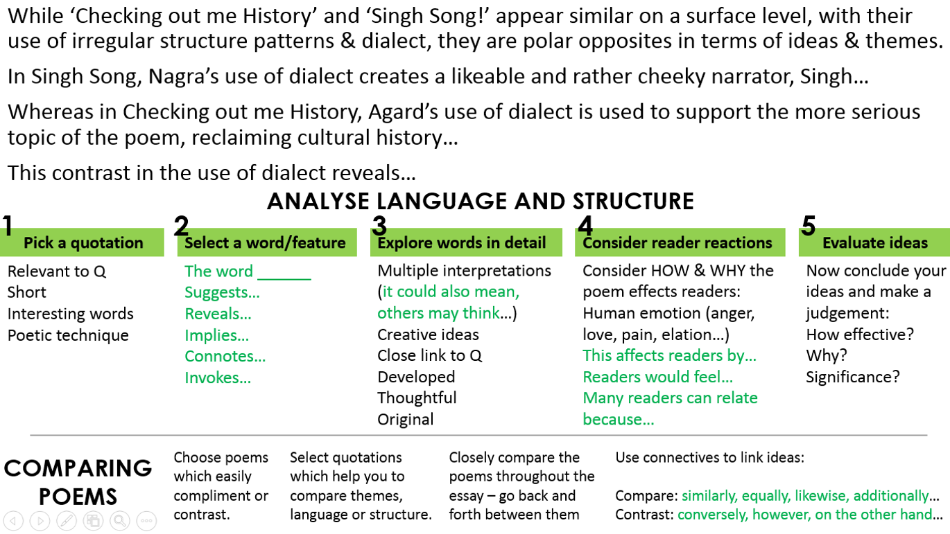 character and voice poetry miss ryan s gcse english media singh history compare