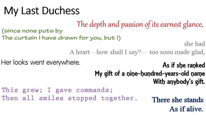 "a description of a formalist approach to my last duchess by robert browning Get an answer for 'describe the duke's character in browning's ""my last duchess""' and find homework help for other my last duchess questions at enotes."
