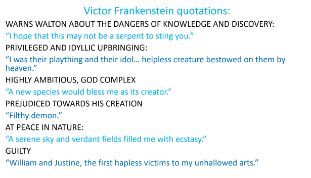 Victor Frankenstein quotations